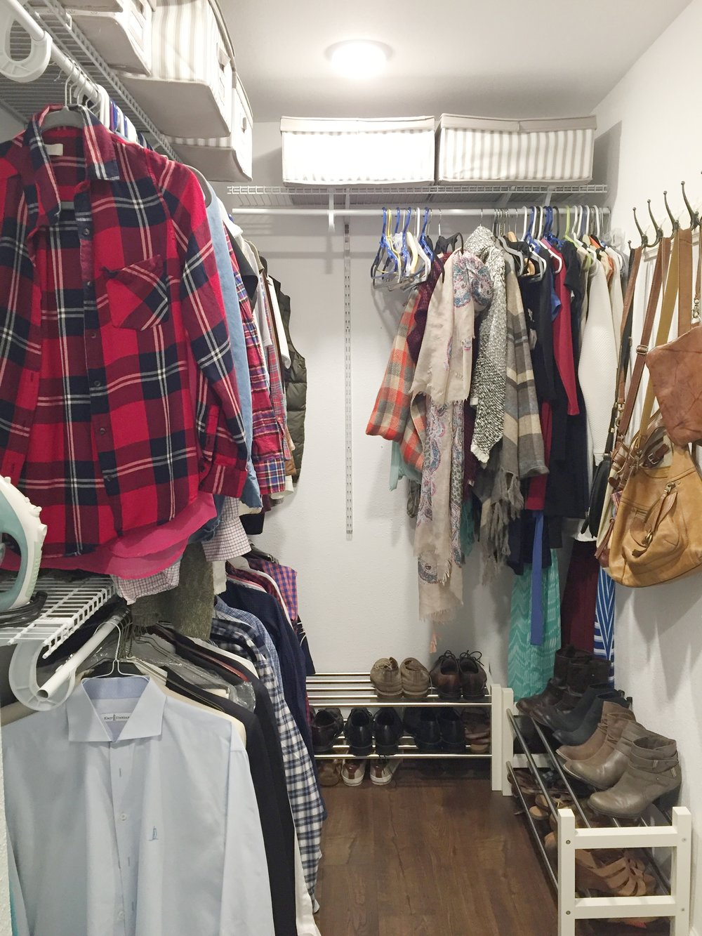Closet organizers were purchased at Home Depot and the shoe racks and storage boxes above are from IKEA.