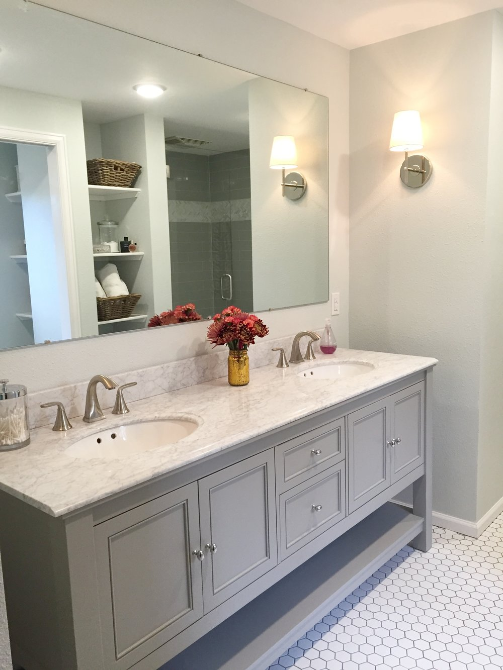 Sconces are from West Elm & vanity is from Home Depot.