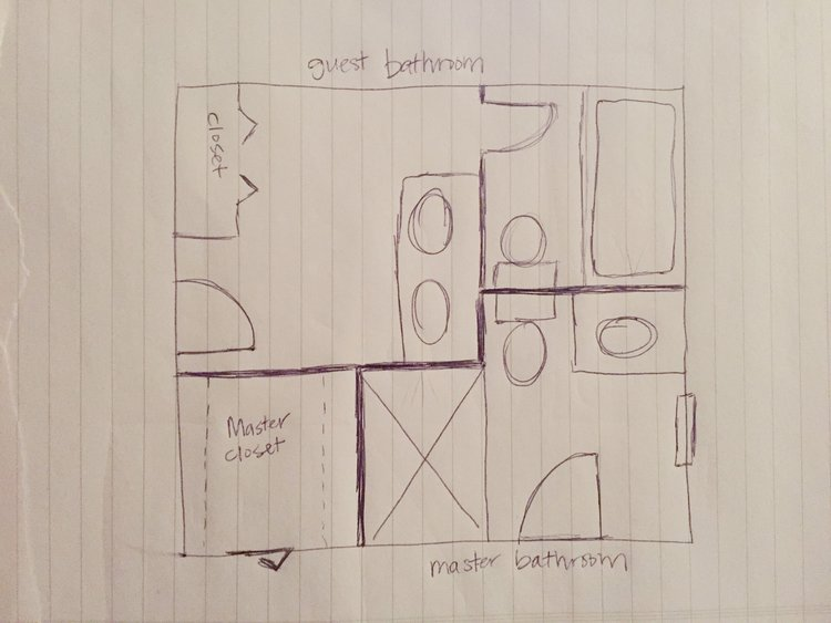 Old layout of the master bathroom and guest bathroom.