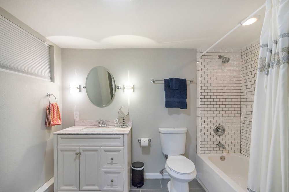 The inviting basement guest bathroom