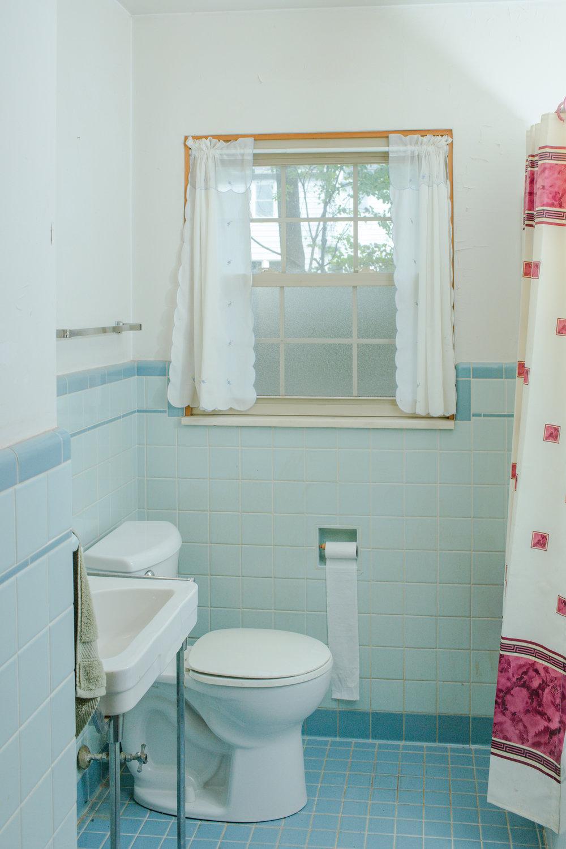 First floor vintage blue bathroom