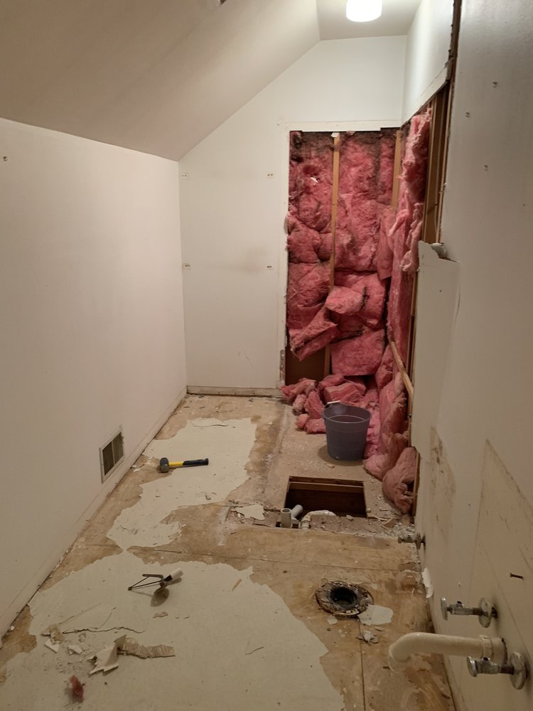 The bathroom upstairs has been demo'ed