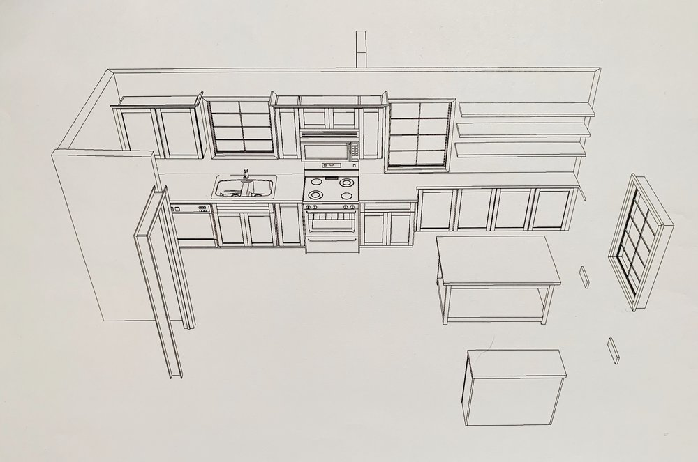 Kitchen design option 2 with a kitchen table in the center of the space.