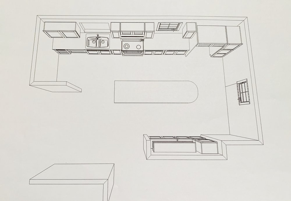 Design option 1 with the island in the center of the kitchen