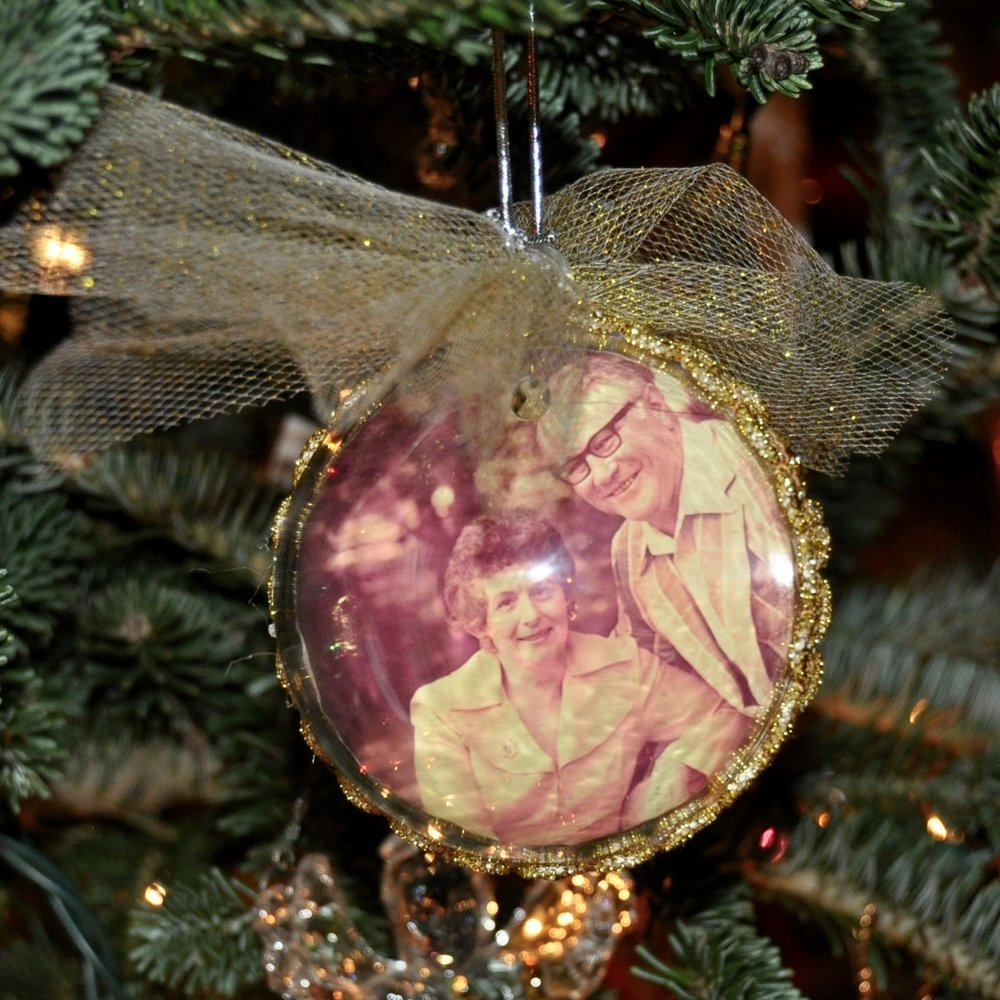 Handmade ornament with my grandparents photograph inside.