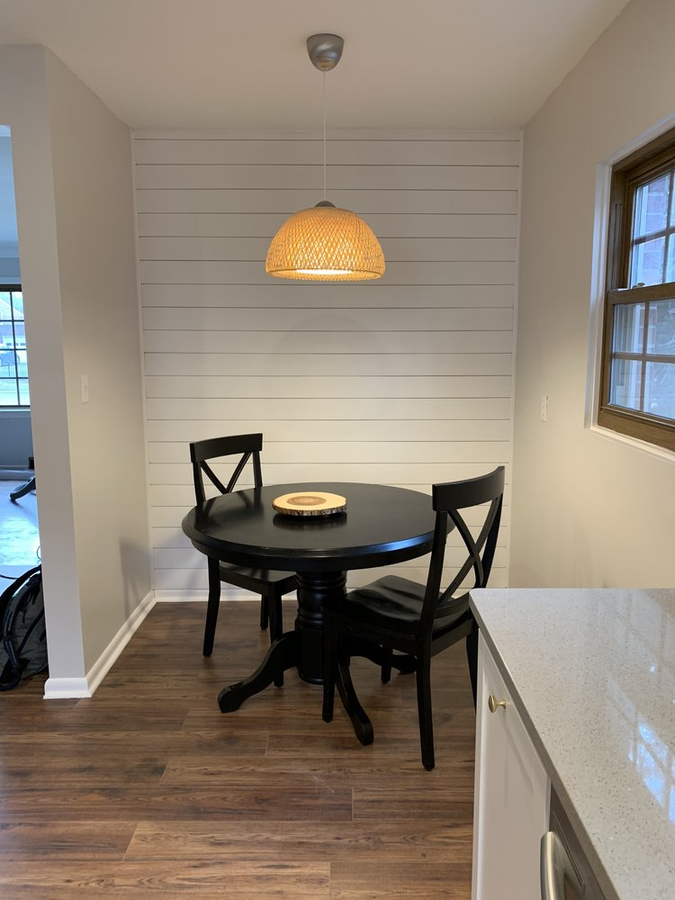 Flip 4 kitchen with Ikea pendant & shiplap walls