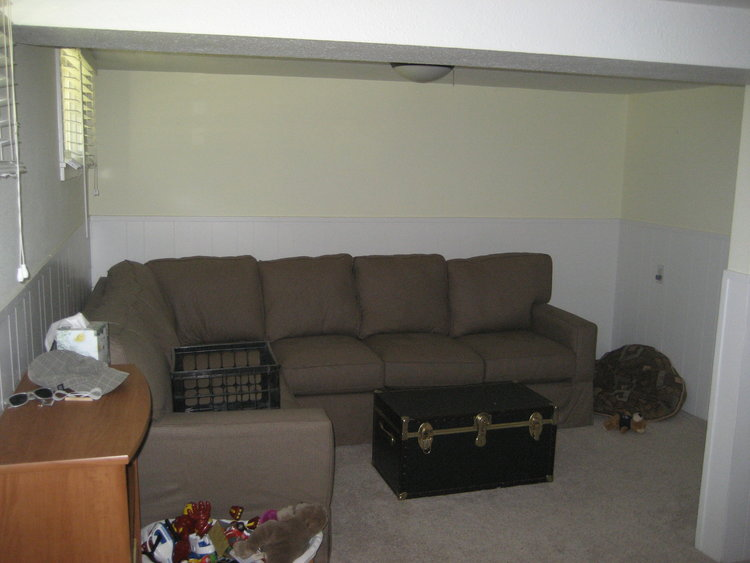 The basement at our first flip house before we renovated the space.