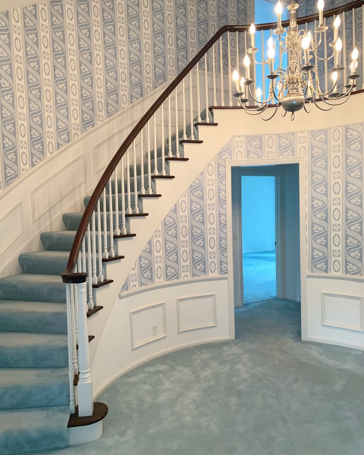 Wallpapered foyer