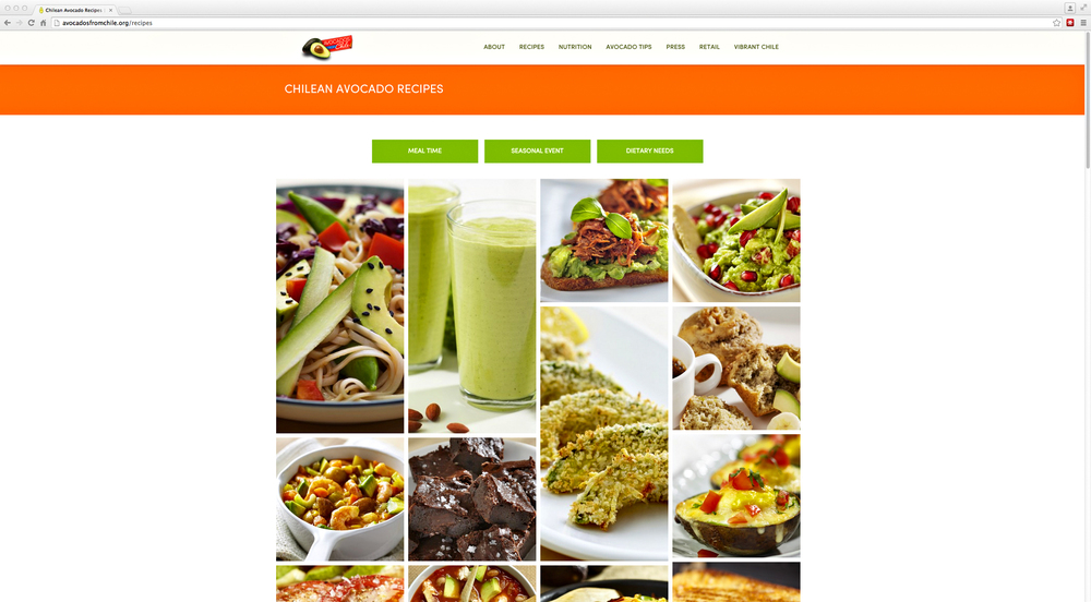 Chilean avocado website recipe page