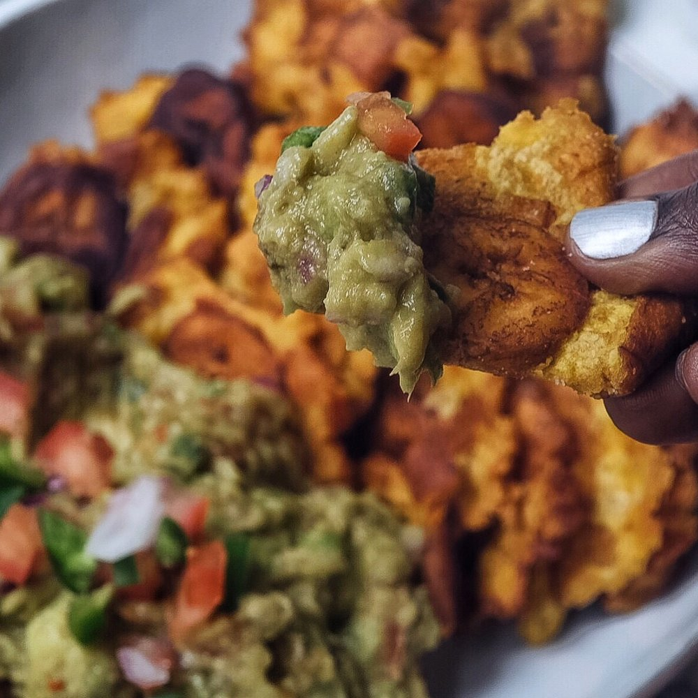Spicy Guac and Accra Style Tostones