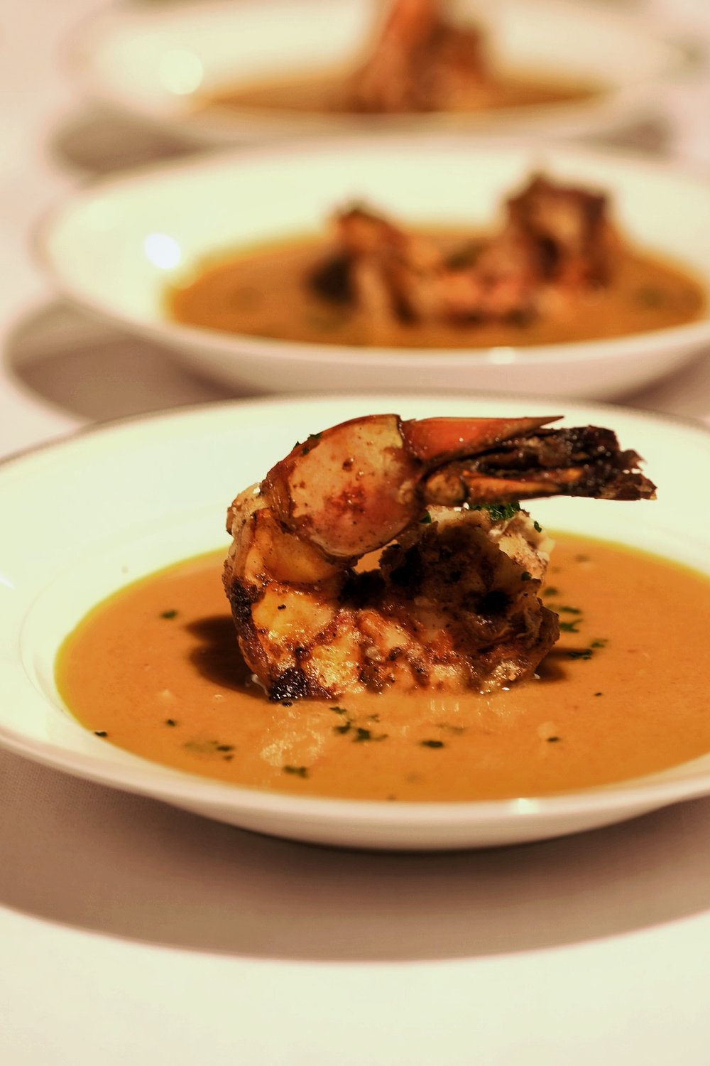 Peanut Butter Bisque with Mango Chili Medley Prawns