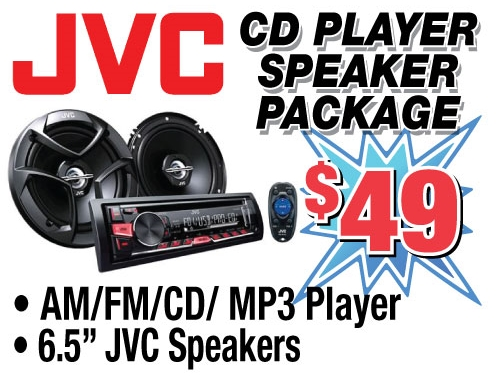 Purchase a JVC CD Player and Speaker Package for only $49 from Stereo Depot in El Cajon and San Diego for only $49.