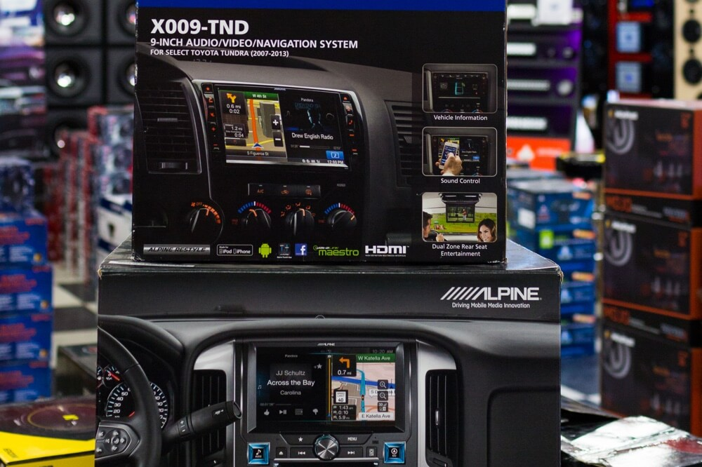 Car GPS navigation system installation.