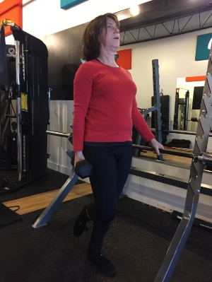 Sheilagh works to regain strength in her hips with a single leg deadlift.