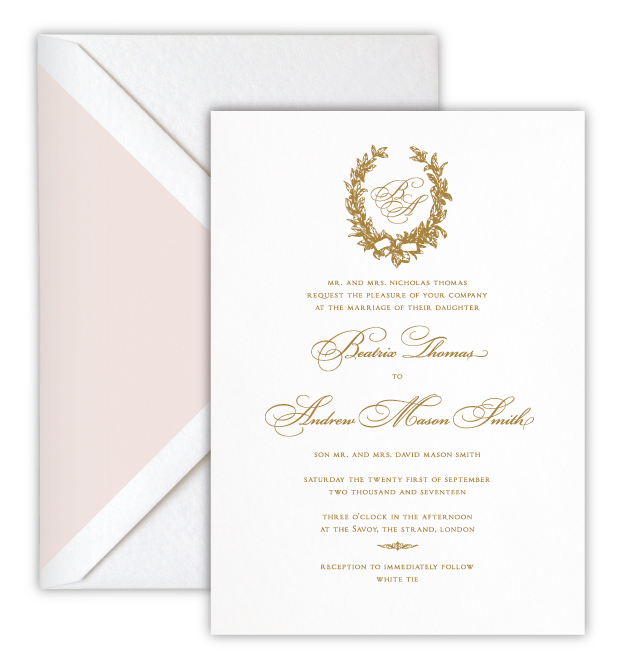 Beatrix Luxury Foil Letterpress Wedding Invitation
