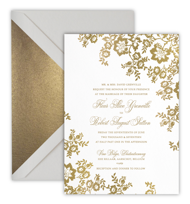 Fleur Digital Foil Letterpress Wedding Invitation Rose Ruby Fine