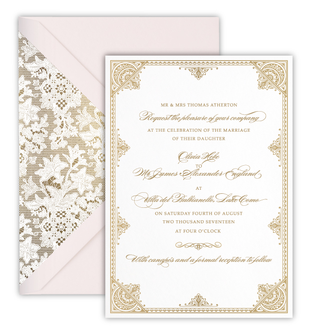 Olivia Digital Foil Letterpress Wedding Invitation Rose Ruby