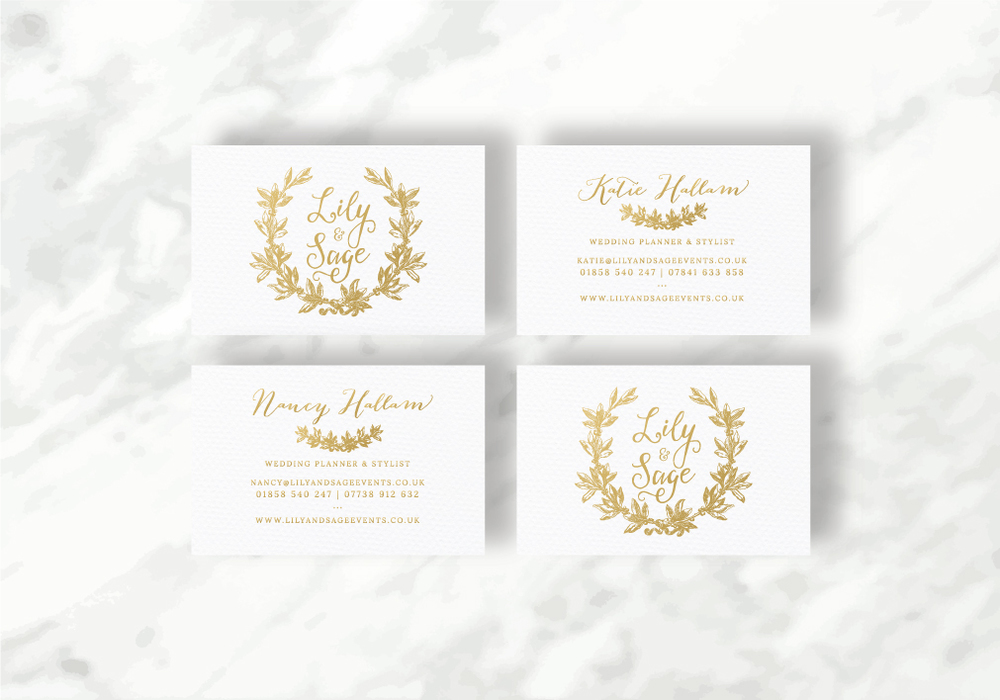 project business cards print details gold foil double sided letterpress on 300gsm stucco embossed card stock - Wedding Planner Business Cards
