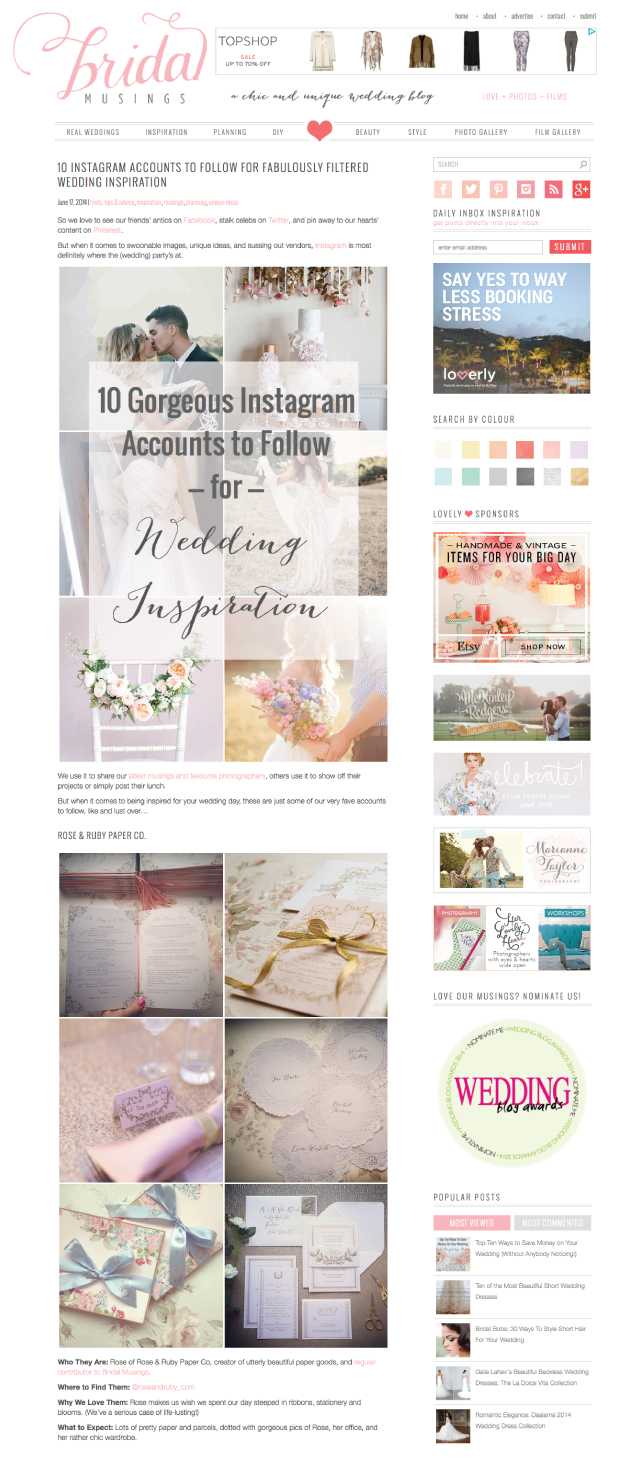 Top 10 Instagram Accounts To Follow For Wedding Inspiration Rose