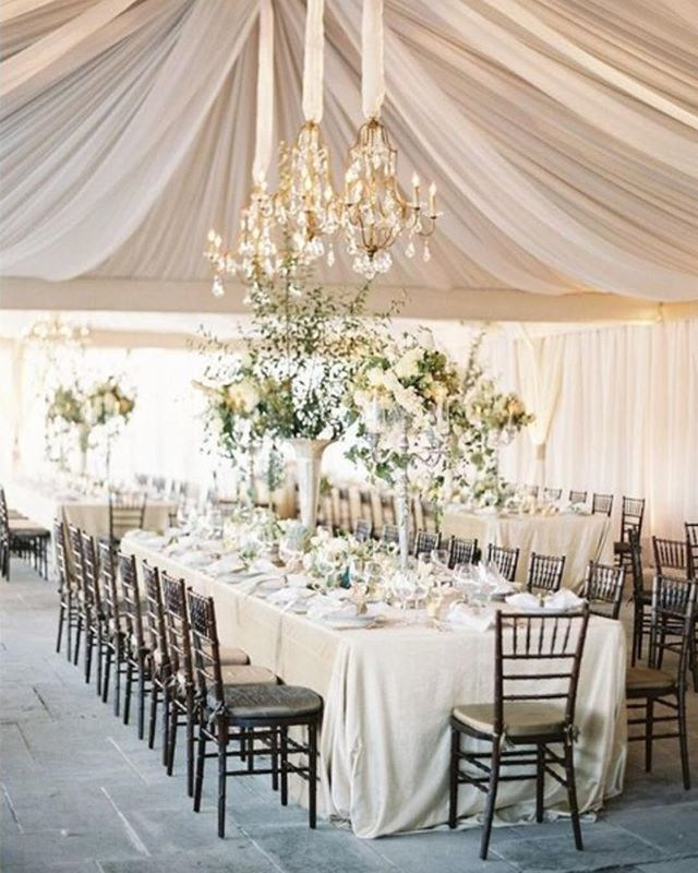 Stunningly soft and beautifully romantic reception space! . Gorgeous soft nudes and layers of whites against the darker tones of the chairs. Beautiful palette! . Image via @oncewed. Event design @eastonevents, photo @josevilla, flowers @saipua
