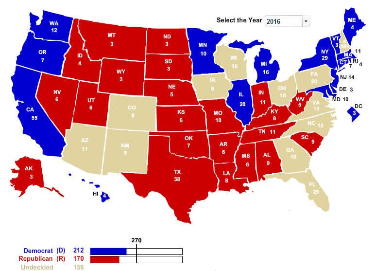 Blog Ben Schrader - 2016 voting map of the us