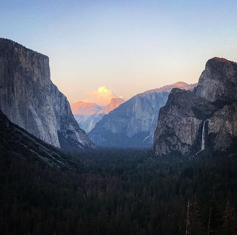El Capitan on the left, Half-dome in the middle, Bridal Veil Falls on the Right.