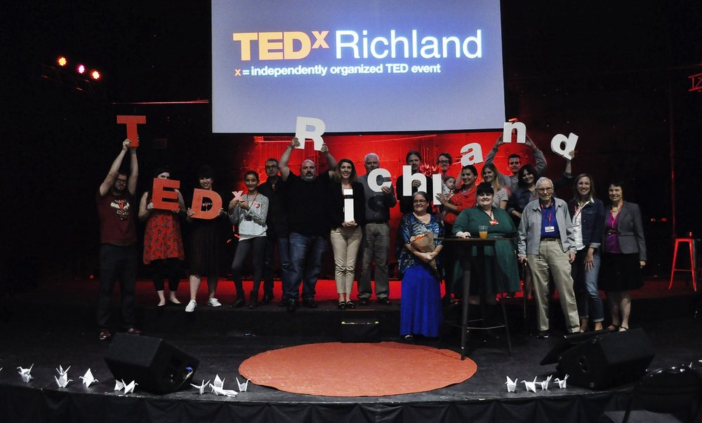 Part of the amazing TEDxRichland 2017 team. It took many people (some not pictured here) with giving minds to pull off the success for the second annual TEDx in the Tri Cities. With such a great turnout, we are pleased to bring more TEDx in 2018.