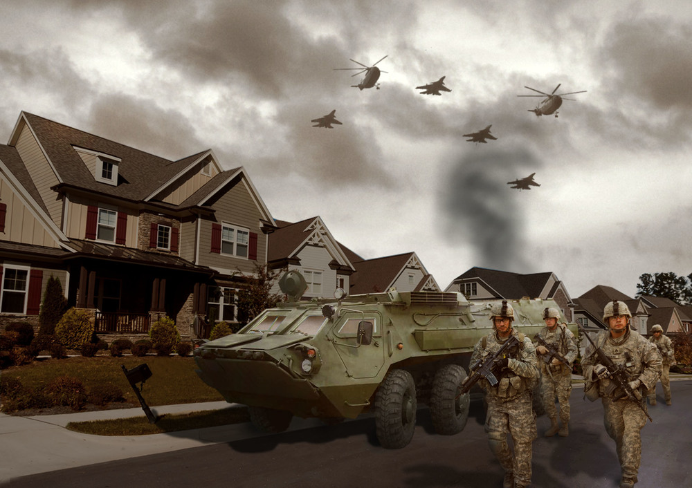 "My illustration: Trump's new Patriot Guard patrolling our neighborhoods.  Some call them ""Trump's Guard"".  In the background, a supposed Muslim home burns. ""Job well done team!"""