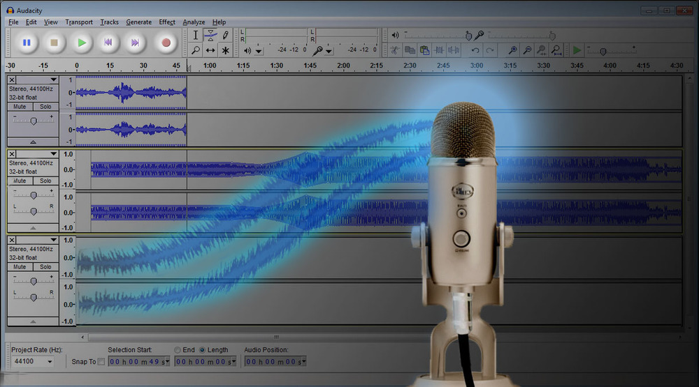 A wonderful pair--free, open-source Audacity multi-track recording software and the Blue Yeti microphone.