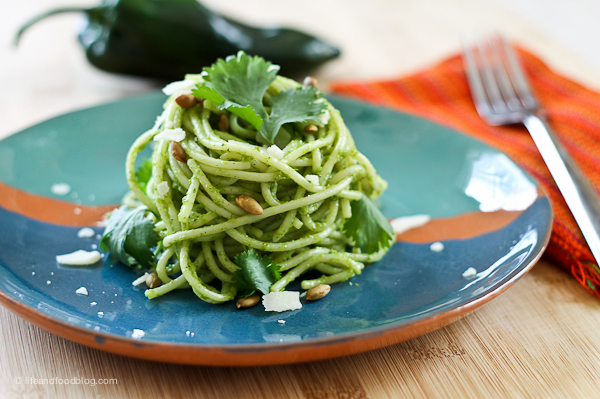 Spaghetti with Poblano Pesto