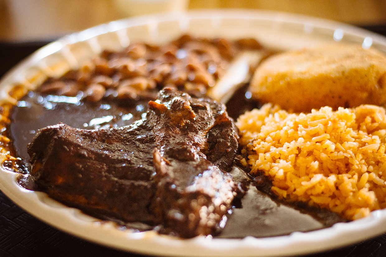 Mole Poblano, Potato and Cheese Patties, Rice and Beans – Super Cocina: Comida Casera Mexicana