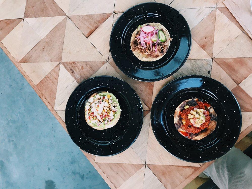 Tacos and tostadas at Cine Tonalá, Tijuana
