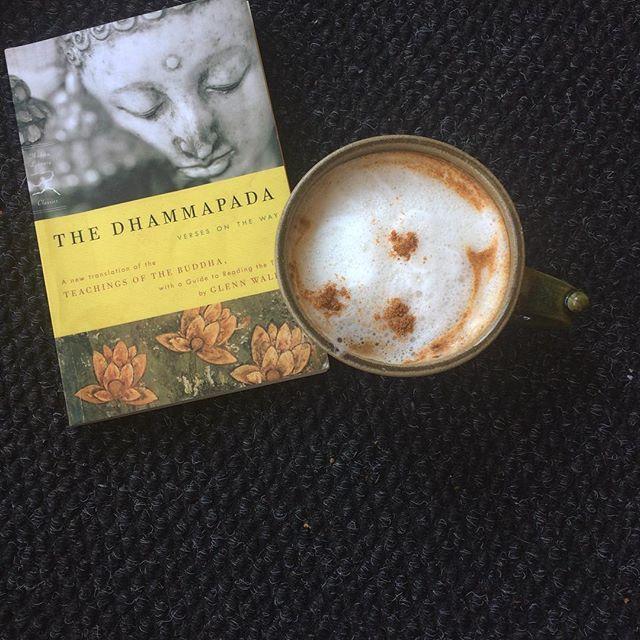 Morning musings. #buddha #latte #coffee #cafe #reading #book #morning #morninglove #morningmeditation #karamarellyoga