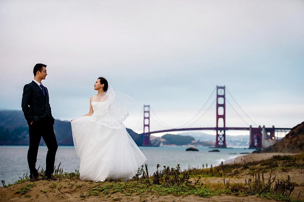 旧金山湾区金门大桥婚纱照摄影