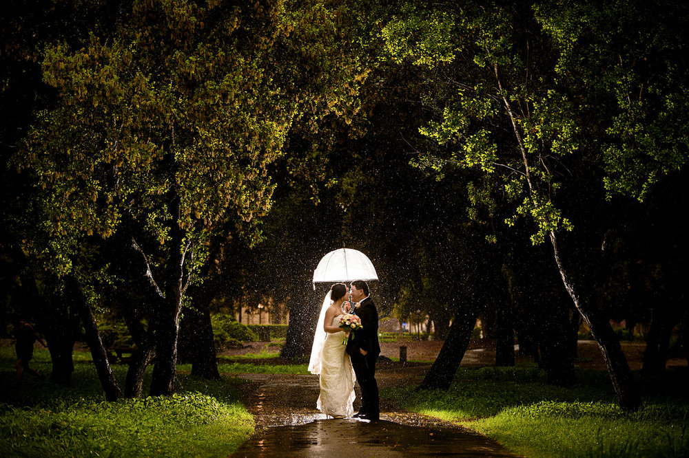 rainy day stanford memorial church wedding