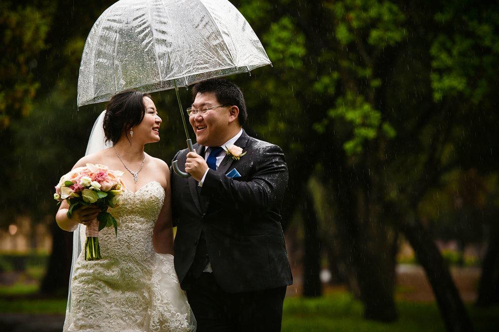 Stanford memorial church wedding on a rainy day!