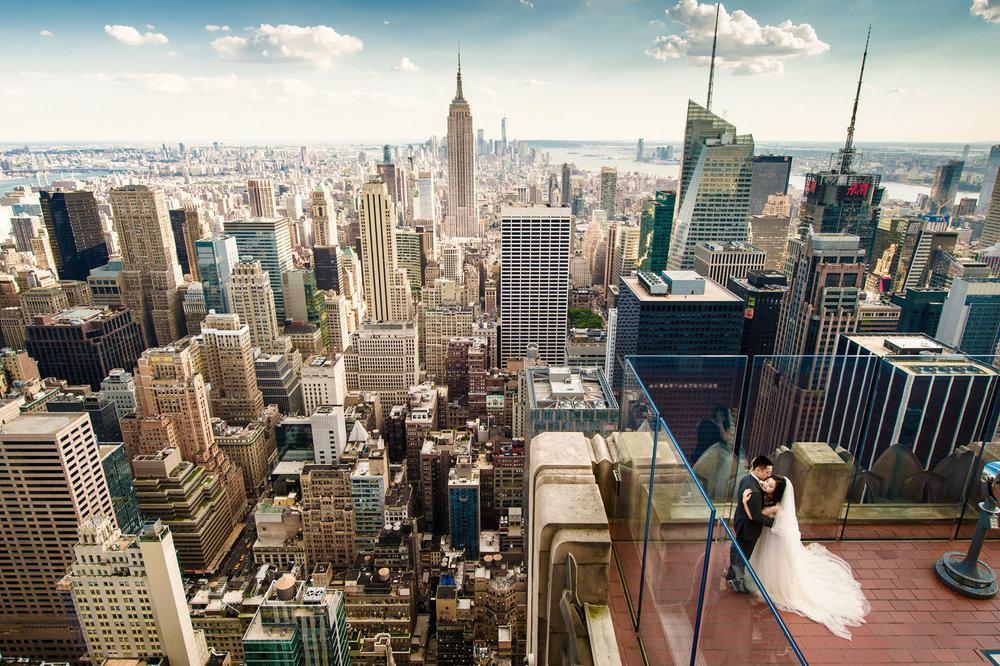 top of the rock pre wedding in new york 纽约婚纱照