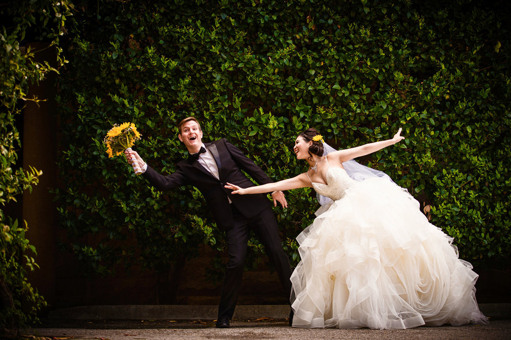 Bride and groom having fun at Stanford University - wedding