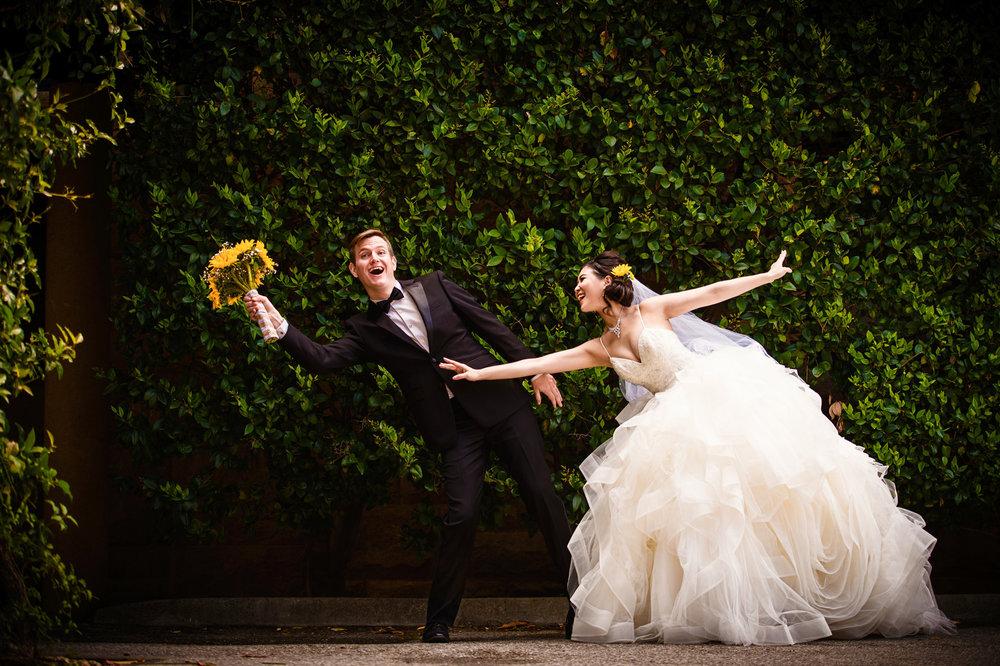 Bride and groom having fun at Stanford University - wedding