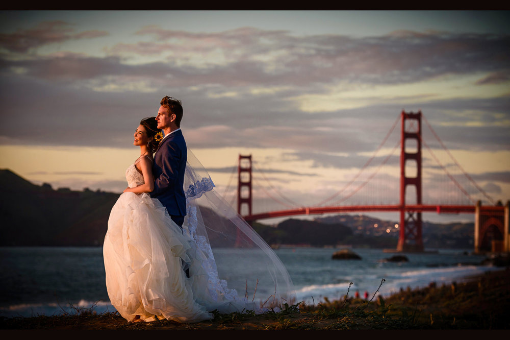 旧金山湾区金门大桥婚纱照