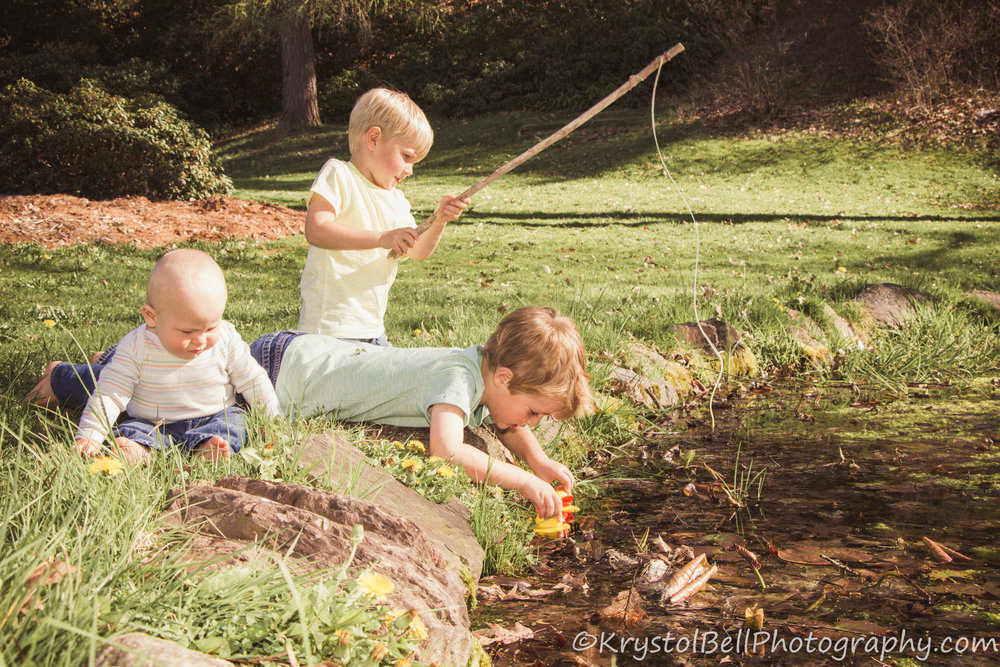 Charlie, Ben, and Hudson were happy to have their pictures taken, and extra happy to get to play while doing it, I love the feeling of this picture- boys on an adventure together, they have lots more of those in their future!