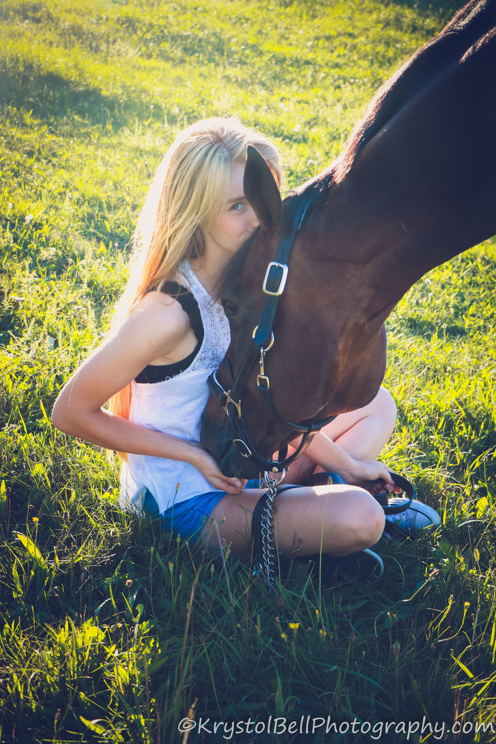 Esme and her horse were so much fun.  The horse is a well trained, show jumping horse and was not as happy to snuggle and get cute, cuddly photos as we would have liked, but it was still so much fun and I love how Esme's love shines through in this image!