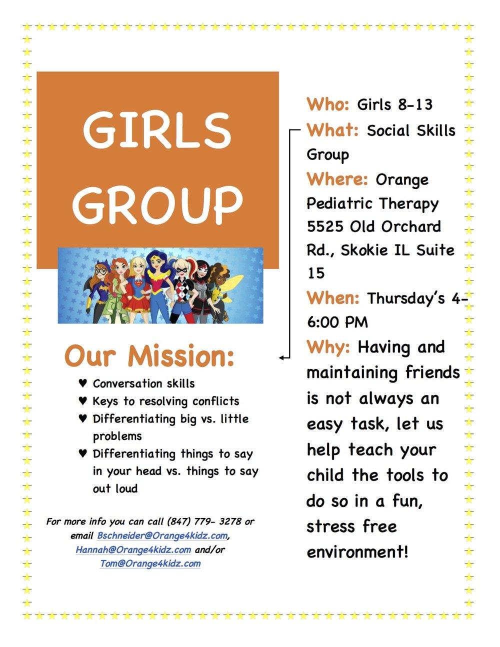 Girls Group! - CLICK FOR CALENDAR OF ACTIVITIES!