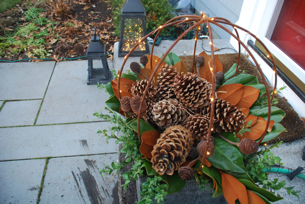 Winter container garden with pinecones and lights