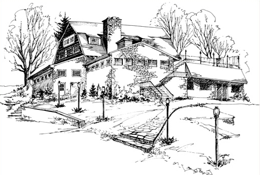This rendering by Ruth Thomforde Seegers depicts The Stone Barn in 1968 before the addition of the Hunt Room