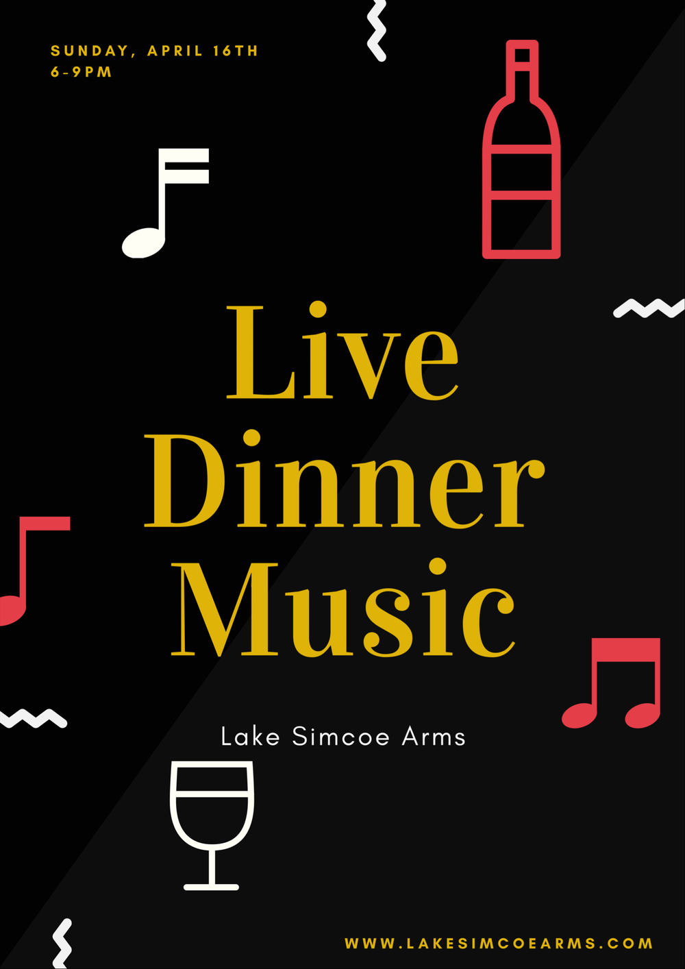 Sunday, April 16th - Live Dinner Music from 6-9pm