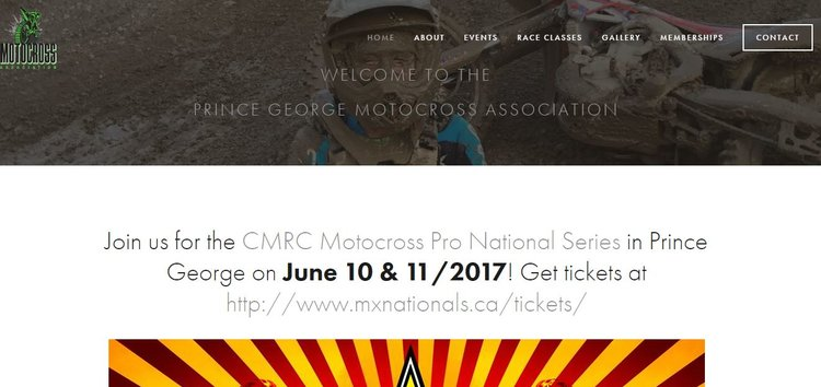 Prince George Motocross Association    Website Design - June 2017