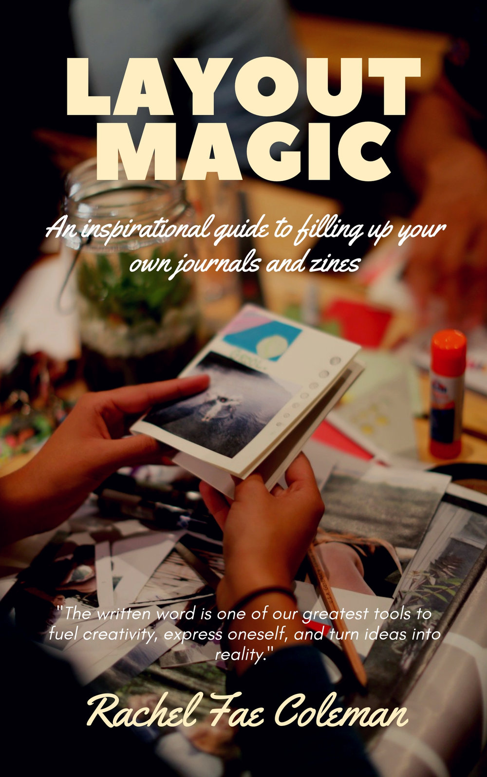 LAYOUT MAGIC - An Inspirational Guide to Filling up Your Own Journals and ZinesWith the practice of journaling, I have been able to reflect on my life since I was quite young, practice my authentic voice, make changes for the better, stay organized, and simply enjoy. It's an ongoing practice of self-discovery. Journaling adds an extra magic as no one is looking over my shoulder and I have no obligations to impress. My life may not make sense to some of those around me, but it makes perfect sense to me because I write. When traveling, I never go without my journals. Along with the written word is the visual image. Images add another dimension by creating a narrative whether photographs, magazine clippings, sketches, or freestyle doodles. The best thing of all is there are no right or wrong answers, ways of filling up a journal or making a zine. I love teaching others how to create a format that inspires them to go with the flow, seeing what unfolds. There are so many artistic mediums available from felt-tip pens, to pastels, to colored tape. As you continue to practice journaling you may realize your true passion for maybe poetry. You may enjoy telling bold abstract stories without words but with collaged images. You may feel called to create an impactful zine on a subject important to you like women's rights or clean water. You may be able to tackle that nagging to-do list in a more productive way. You may finally write that screenplay you've always dreamt of. Journaling has no age limit and no set rules. This book can be applied to anyone on a creative pursuit. From words alone, bigger ideas come to life.
