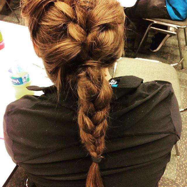 French braid attempt. #progress #ponytail #braid #braidstyles #wenevergooutofstyle #staystaystay #gamedev #gdc2016 #hairstyle #hydration