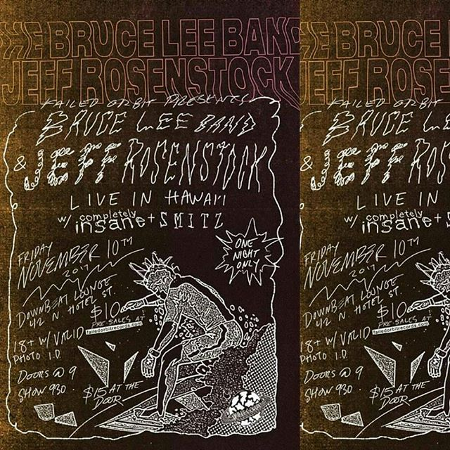 TONIGHT! Come get your three-day weekend started right with a night of ska ska ska! The Bruce Lee Band & @jeffrosenstock at @downbeathawaii w/ @smitz808band and #completelyinsane  Pre-sales end at noon, so grab 'em soon or you'll have to pay full price at the door.  Go to www.failedorbitrecords.com to grab yours.  Doors at 9p, Music 915p, $15 at the door, 18+ welcome with valid photo I.D.